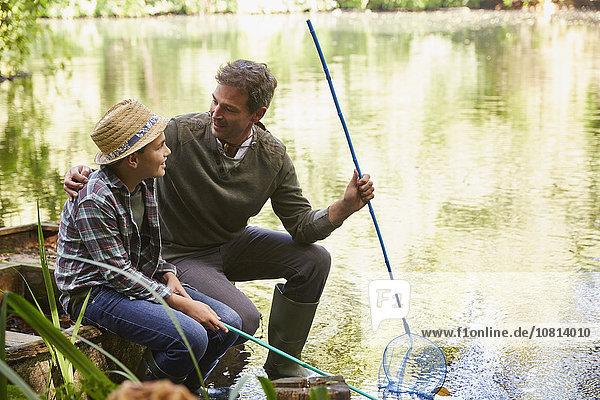 Menschlicher Vater,Sohn,Netz,angeln,Teich
