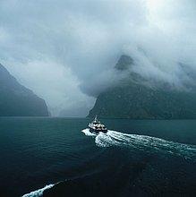 Segeln,folgen,Boot,Bucht,verlassen,Kielwasser