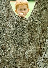 Boy steht hinter Baum