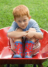 Kleiner Junge sitzt in Schubkarre
