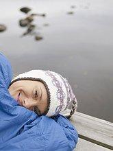 Frau ,lächeln ,Tasche ,schlafen ,Dock