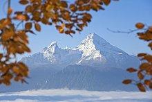Schneebedeckten Berg unter blauen Himmel, Watzmann, Steinernes Meer, Berchtesgadener Alpen, Bayern, Deutschland