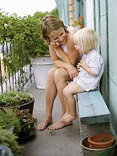 Sohn,Balkon,Mutter - Mensch