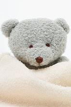 Teddybär umwickelt Decke, Nahaufnahme
