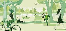 Menschen entspannen im Park