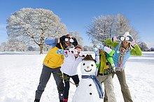 Portrait of Family für Augen mit Schneebällen Feld mit Schneemann