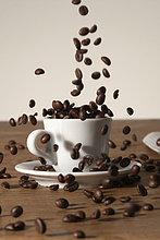 Gegossen in eine Tasse Kaffee-Bohnen