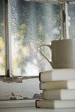 Haufen ,Tasse ,Fenster ,Buch ,Regen ,Hintergrund