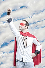 Mann ,Wolke ,heben ,Himmel ,Superheld ,jung ,Kostüm - Faschingskostüm