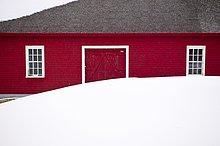 Winter,Fenster,weiß,dahintreibend,Scheune,rot,Kanada,Quebec,Schnee