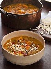 Süss-scharfe Kürbis-Kichererbsen-Suppe