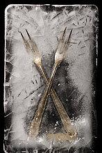 Gabel ,gefroren ,Fleisch