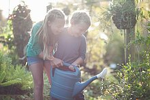 Brother and sister watering plants on allotment