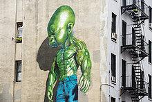 Street Art, bemalte Hauswand, SoHo, Manhattan, New York, USA, Nordamerika