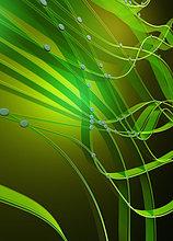 Abstraktes grünes Muster von verbundenen Kabeln und Punkten
