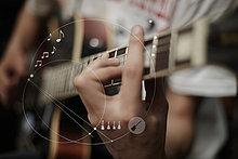 Europäer,Mann,Grafik,Gitarre,Design,spielen