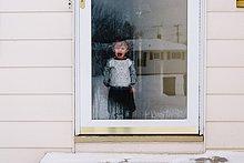 hinter,weinen,Glas,Wohnhaus,Tür