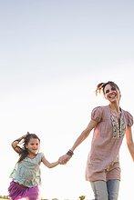 Frau,rennen,reifer Erwachsene,reife Erwachsene,Tochter