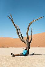 Mann,ruhen,Namibia,Namib