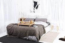 leer,Buch,Schlafzimmer,Bett,Frühstück