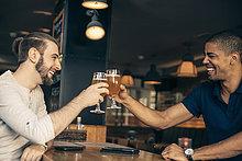 Mann,Fröhlichkeit,2,zuprosten,anstoßen,Bier