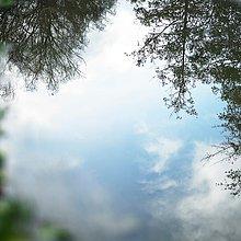 Baum,Himmel,Spiegelung,Pfütze,blau,kopfüber