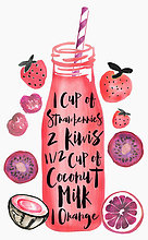 Rezept für einen Smoothie auf einer Flasche mit Strohhalm umgeben von frischen Früchten