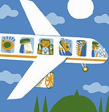 Unglücklicher Fluggast in der Economyklasse eines Flugzeugs mit verschiedenen Problemen