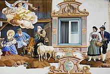 Lüftlmalerei an einer Hauswand, Detail, Garmisch-Partenkirchen, Oberbayern, Bayern, Deutschland, Europa