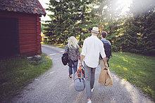 Rückansicht von Freunden mit Gepäck zu Fuß auf Fußweg von Hütte