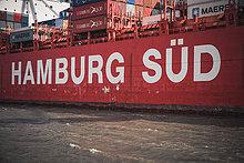Containerschiff, Burchardkai, Hamburger Hafen, Hamburg, Deutschland, Europa