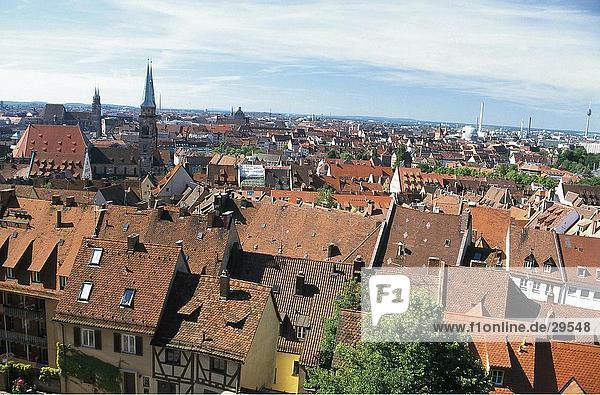 High angle view of houses in town  Nuremberg  Germany