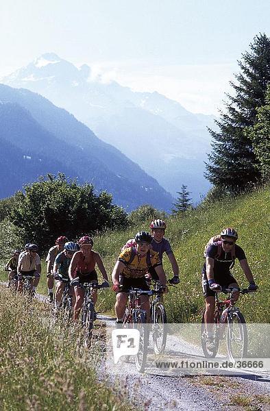 Cyclist riding mountain bikes  Savognin  Graubunden  Switzerland