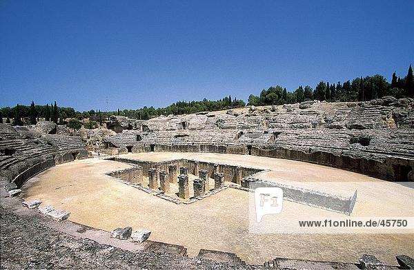 Ruins of amphitheatre  Italica  Andalusia  Spain