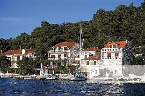 Buildings at waterfront  Govedari  Mljet Island  Dalmatia  Croatia