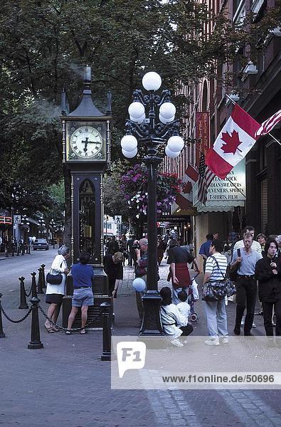 People walking in street  Vancouver  British Columbia  Canada