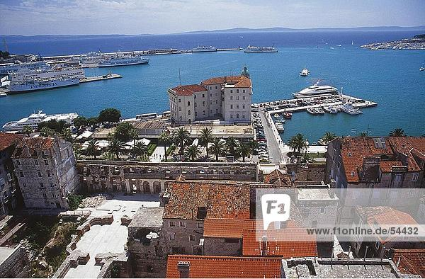 High angle view of buildings at coast  Split  Dalmatia  Croatia
