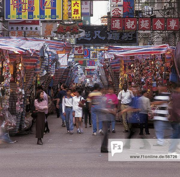 Menschenbei Markt  Kowloon  Hong Kong  China