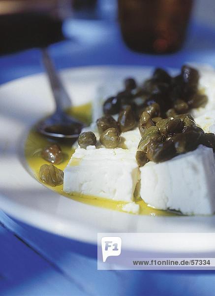 Close-up Olive Ziegenkäse Öl