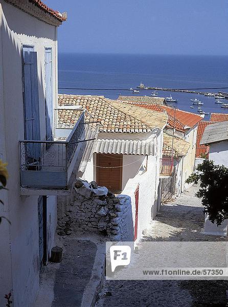 Gebäude Gasse Hintergrund vorwärts Griechenland Mittelmeer Peloponnes