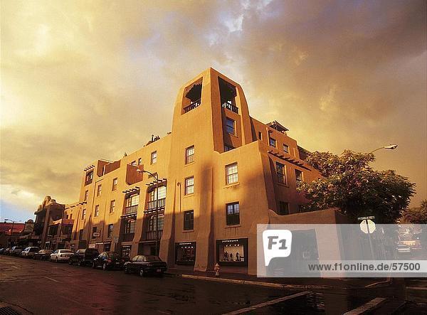 Abend Sonnenlicht fallen auf Hotel-Gebäude  La Fonda Hotel  Santa Fe  New Mexico  USA