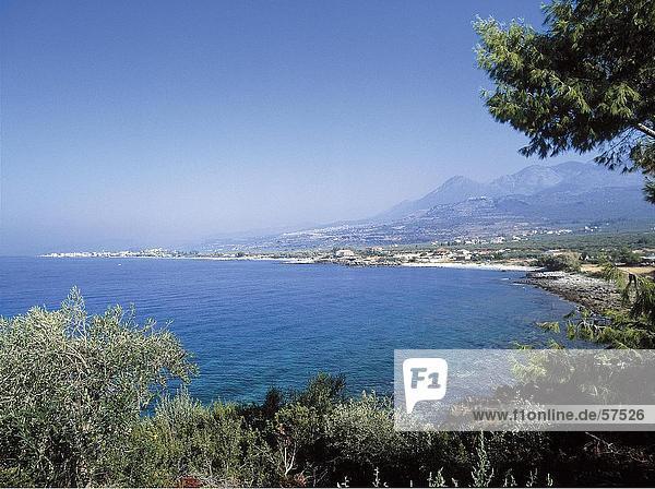 hoch oben Küste Ansicht Flachwinkelansicht Winkel Griechenland