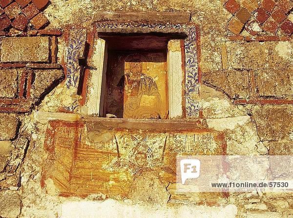Fresko an Wand der Kirche  Peloponnes  Griechenland