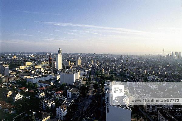 Panoramische Ansicht der Stadt  Henninger Turm  Frankfurt am Main  Hessen  Deutschland