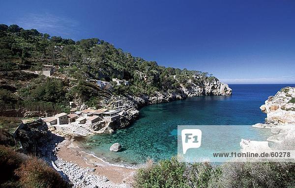 hoch oben Gebäude Küste Ansicht Flachwinkelansicht Winkel Mallorca Spanien