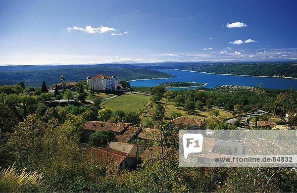 High angle view of a village on a lakeside  Croix Lake  Aiguines  Var  Cote D'Azur  Provence  France