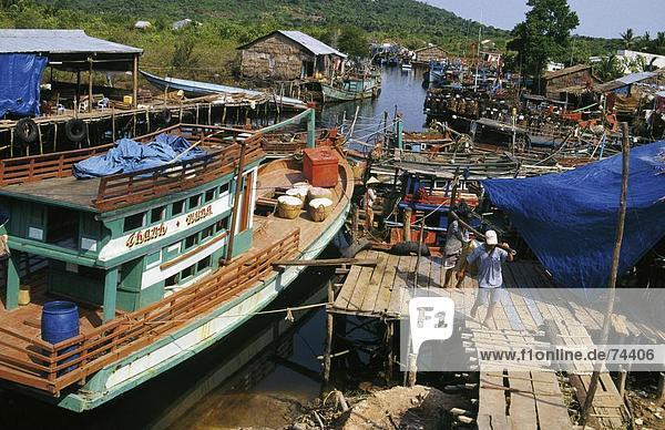 10617315  fishing harbour  island  isle  Phu Quoc  traditional  fishing boats  Vietnam  Asia
