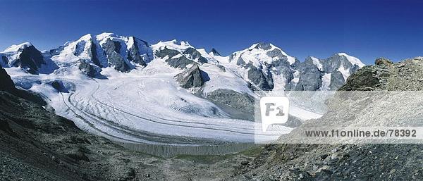 Felsbrocken Panorama Landschaftlich schön landschaftlich reizvoll Europa Steilküste Eis Kanton Graubünden Schweiz