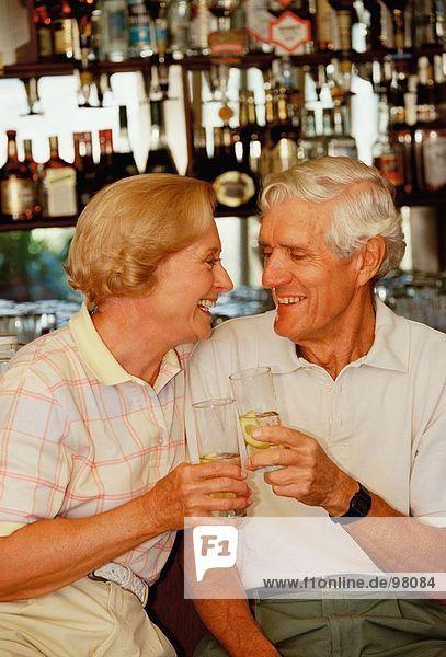 Seniors. Couple. Bar. Drinking