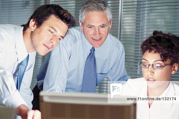 Geschäftsleute  die auf den Computerbildschirm schauen